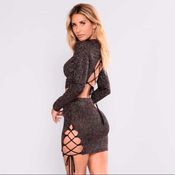 c59d4225126 NEW Black Glitter Two Piece Dress Set